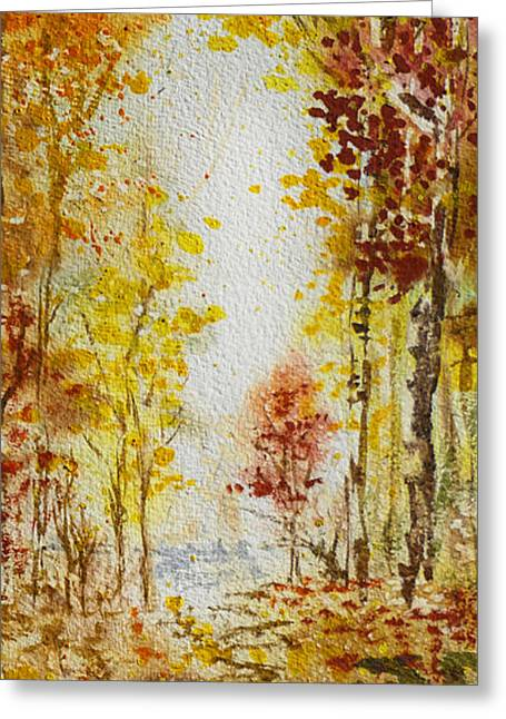 Crisp Greeting Cards - Fall Tree in Autumn Forest  Greeting Card by Irina Sztukowski