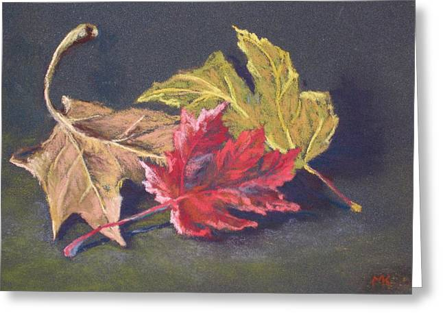 Yellow Leaves Pastels Greeting Cards - Fall Trio Greeting Card by Marlene Kingman
