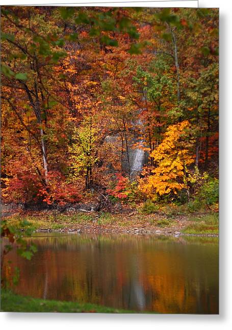 Kevin Schrader Greeting Cards - Fall Waterfall Greeting Card by Kevin Schrader