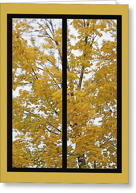 Fallen Leaf Mixed Media Greeting Cards - Fall Wind Diptych Greeting Card by Steve Ohlsen