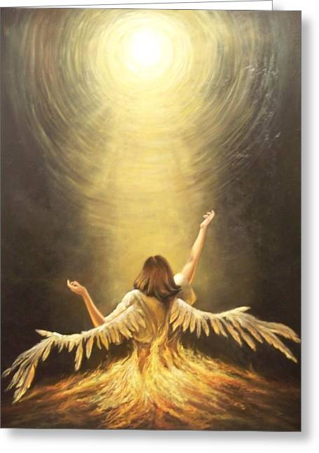 Unforgiven Greeting Cards - Fallen Angel Greeting Card by Calvin Carter