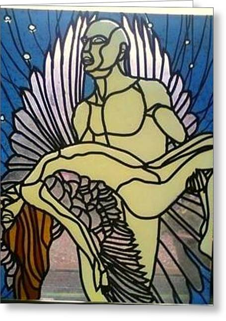 Angels Glass Art Greeting Cards - Fallen angel. Greeting Card by Robin Jeffcoate