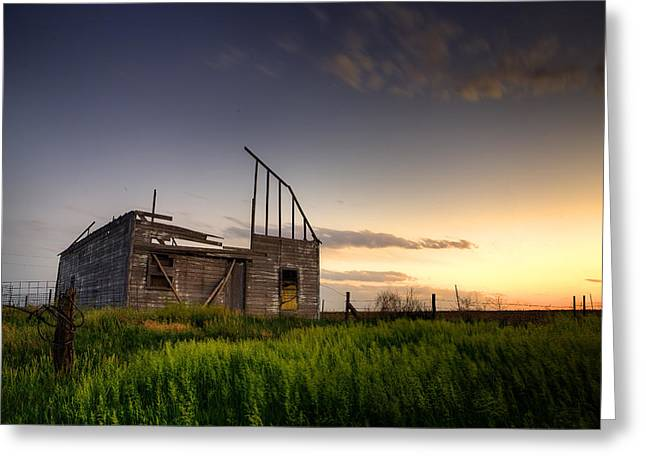 Old Barns Greeting Cards - Fallen Barn Greeting Card by Thomas Zimmerman