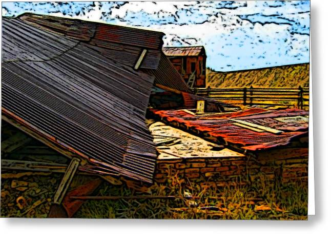 Tin Roof Drawings Greeting Cards - Fallen building  Greeting Card by Howard Perry