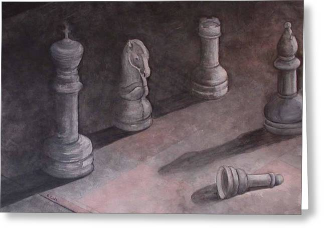 Chess Piece Greeting Cards - Fallen Chessman Greeting Card by Sandy Clift