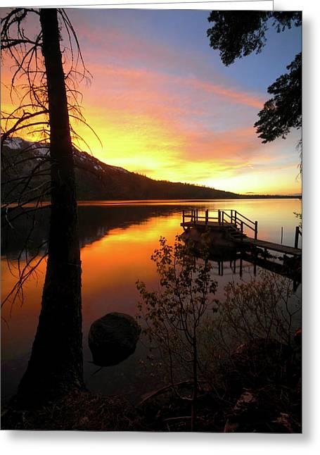 Fallen Leaf Lake Greeting Cards - Fallen Leaf Lake Greeting Card by Jacek Joniec