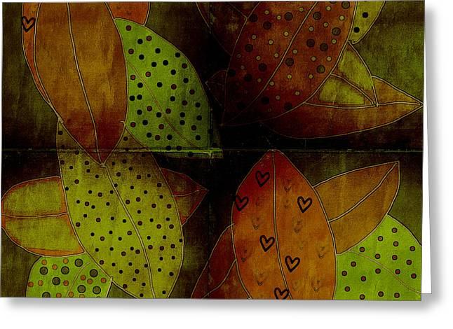 Leaves Digital Art Greeting Cards - Fallen Leaves Greeting Card by Bonnie Bruno