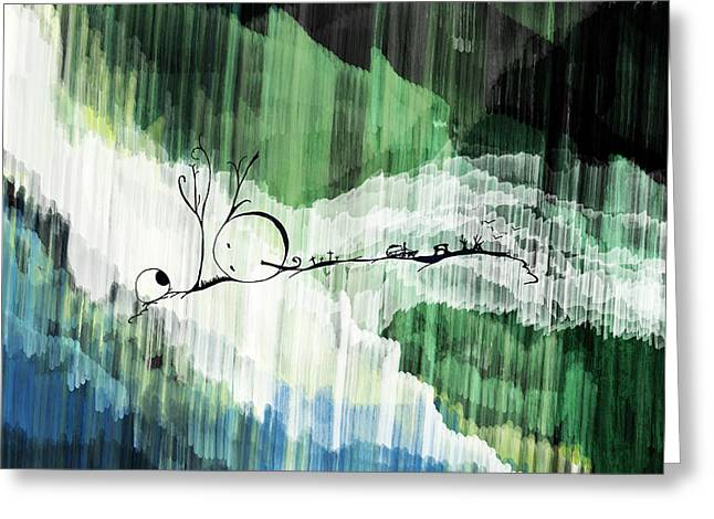 Fall Grass Drawings Greeting Cards - Fallen Moon Greeting Card by Roberto Mansi