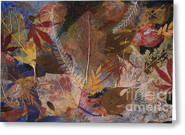 Fallen Leaf Mixed Media Greeting Cards - FALLEN TREASURES a collage of dried leaves Greeting Card by Phil Albone