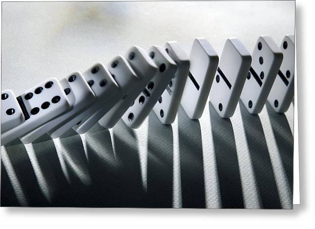 Cause Greeting Cards - Falling Dominoes Greeting Card by Victor De Schwanberg