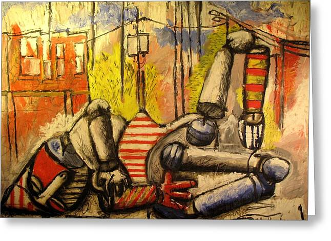 Plight Greeting Cards - Falling Down Man SOLD Greeting Card by Charlie Spear