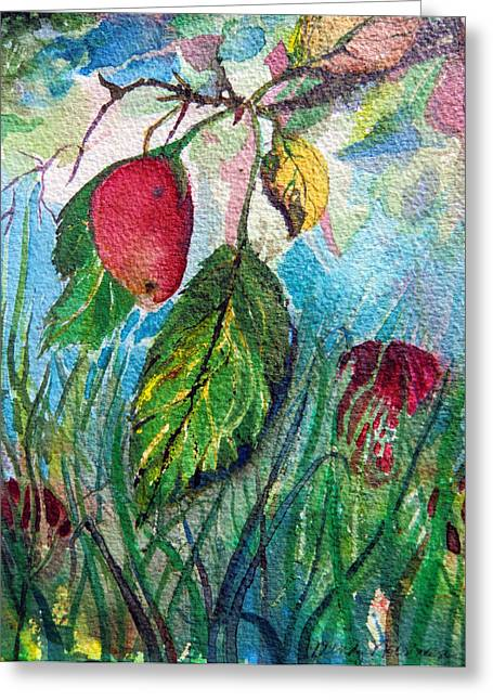 Fall Grass Drawings Greeting Cards - Falling Fruit Greeting Card by Mindy Newman