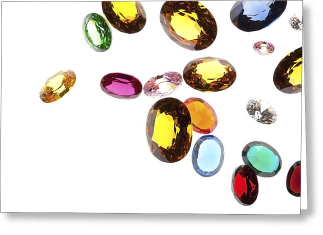 Jewelry Jewelry Greeting Cards - Falling Gems Greeting Card by Setsiri Silapasuwanchai