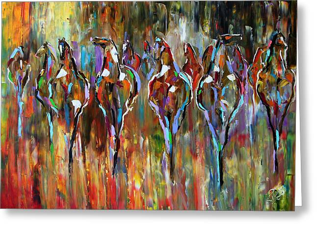 Western Western Art Greeting Cards - Falling into Winter Herd Greeting Card by Laurie Pace