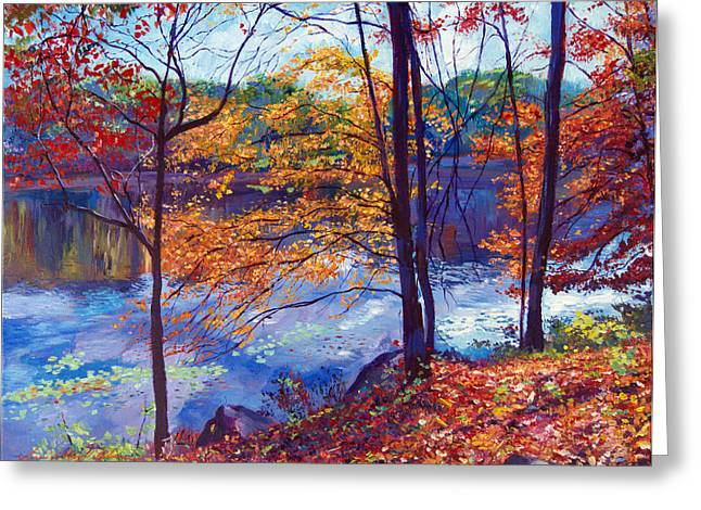 Autumn Landscape Paintings Greeting Cards - Falling Leaves Greeting Card by David Lloyd Glover