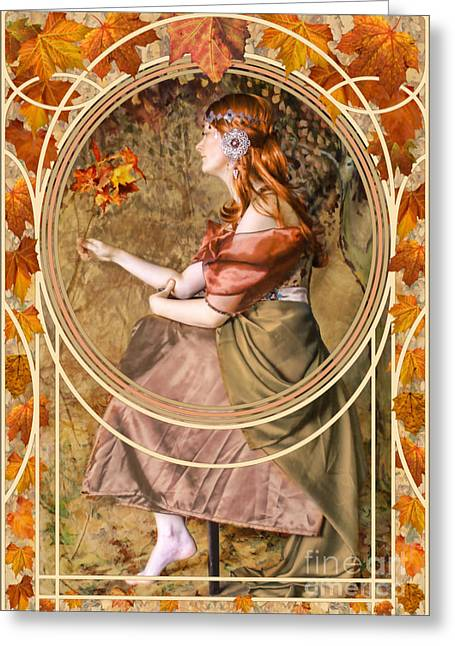 Autumn Art Digital Art Greeting Cards - Falling Leaves Greeting Card by John Edwards