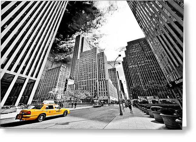 Gotham City Photographs Greeting Cards - Falling Lines - Rockefeller Center Greeting Card by Thomas Splietker