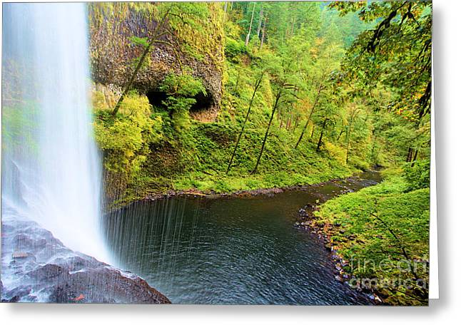 Silver Falls Greeting Cards - Falling Off The Cliff Greeting Card by Adam Jewell
