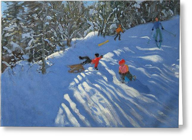 Toboggan Greeting Cards - Falling off the Sledge Greeting Card by Andrew Macara