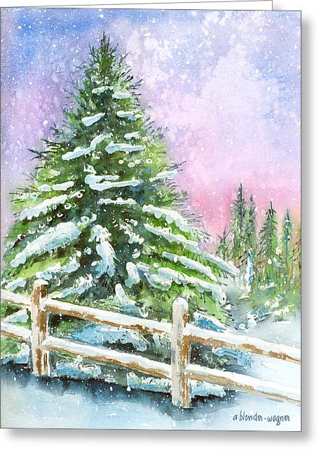 Fir Trees Greeting Cards - Falling Snowflakes Greeting Card by Arline Wagner