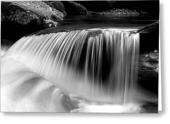 Clean Water Greeting Cards - Falling Water Black and White Greeting Card by Rich Franco