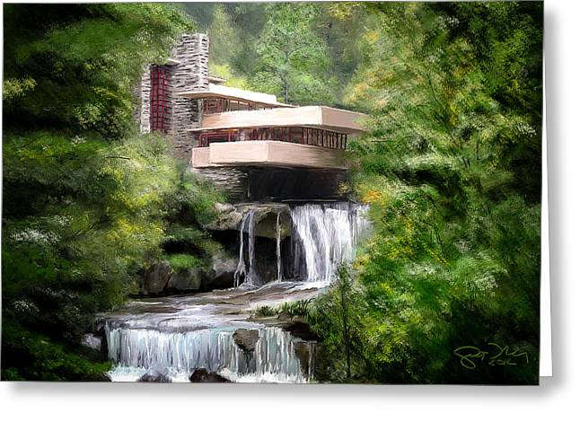 Falling Water Greeting Card by Scott Melby
