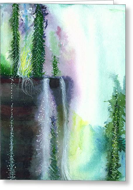 Unique View Paintings Greeting Cards - Falling waters 1 Greeting Card by Anil Nene