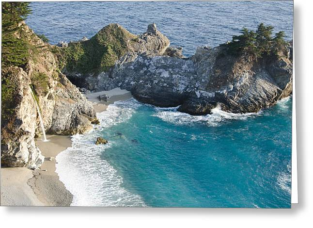 Coast Highway One Greeting Cards - Falls at Big Sur Greeting Card by Margaret Pitcher