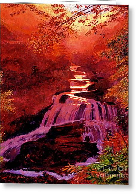Waterfall Greeting Cards - Falls of Fire Greeting Card by David Lloyd Glover