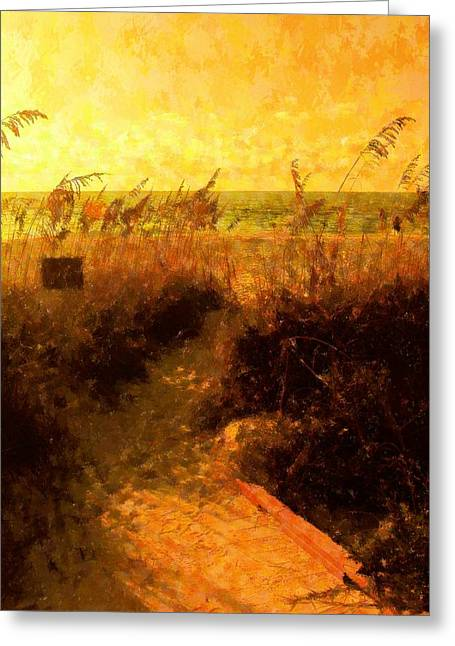 Sea Oats Mixed Media Greeting Cards - Falls Path Greeting Card by Florene Welebny