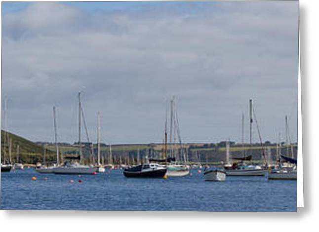 Blue Green Water Greeting Cards - Falmouth Harbour Moorings Greeting Card by Brian Roscorla