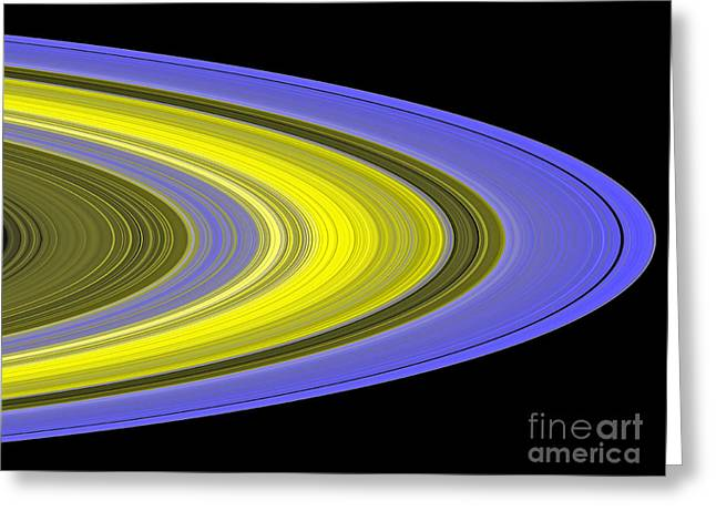 Ring Systems Greeting Cards - False-color Image Of Saturns Rings Greeting Card by Stocktrek Images