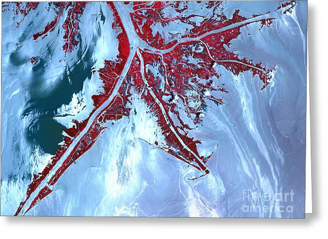 Oil Slick Greeting Cards - False Color Satellite View Greeting Card by Stocktrek Images