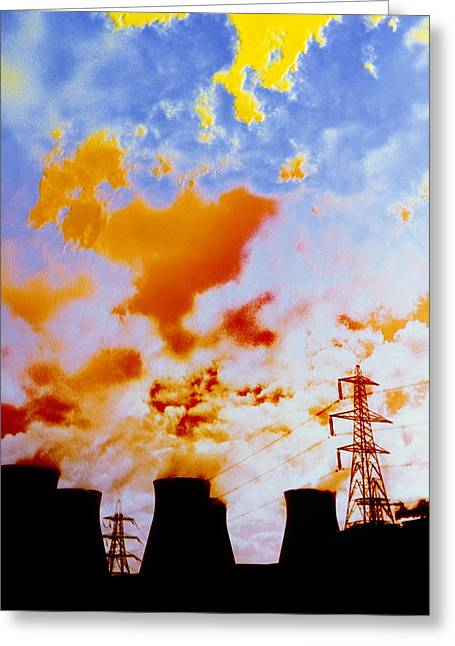 False-colour Photograph Of Ferrybridge. Greeting Card by Dr Jeremy Burgess