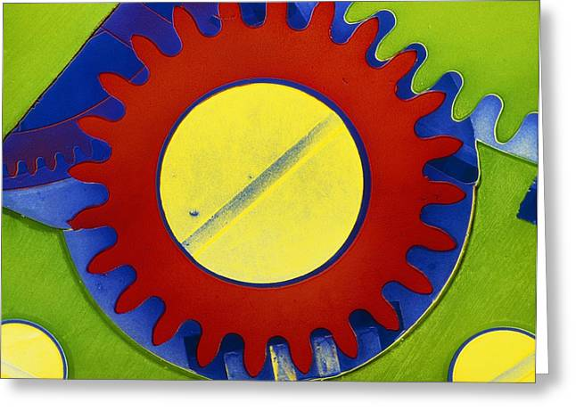 Cog Greeting Cards - False-colour Sem Of The Crown Wheel Of A Greeting Card by Dr Jeremy Burgess