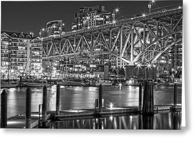 Cambie Bridge Greeting Cards - False Creek BW Greeting Card by Naman Imagery