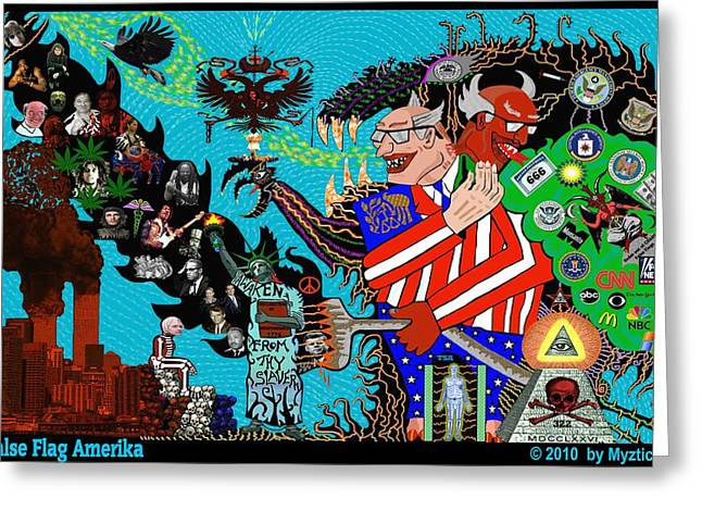 Occupy Mixed Media Greeting Cards - False Flag Amerika Greeting Card by Myztico Campo