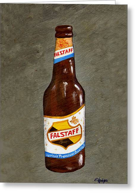 Best Sellers -  - Labelled Greeting Cards - Falstaff Beer Bottle Greeting Card by Elaine Hodges