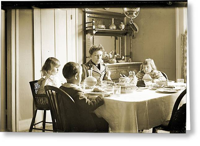 Table And Chairs Greeting Cards - Family at Dinner Greeting Card by Jan Faul