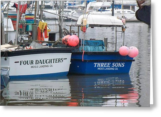 Moss Landing Boats Greeting Cards - Family Boats Greeting Card by Jim Salisbury