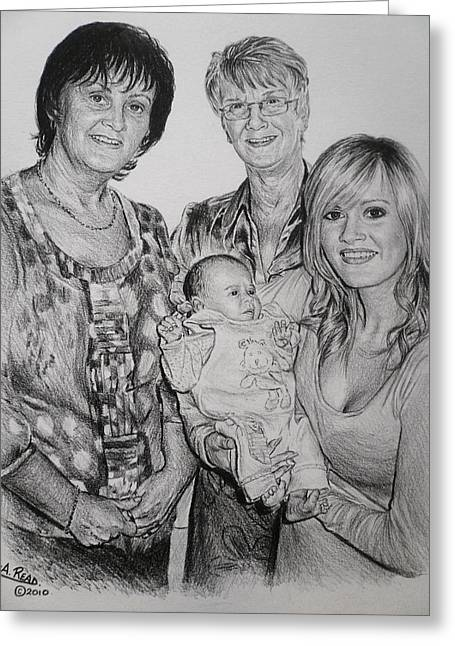 Fineart Drawings Greeting Cards - Family Commissions Greeting Card by Andrew Read