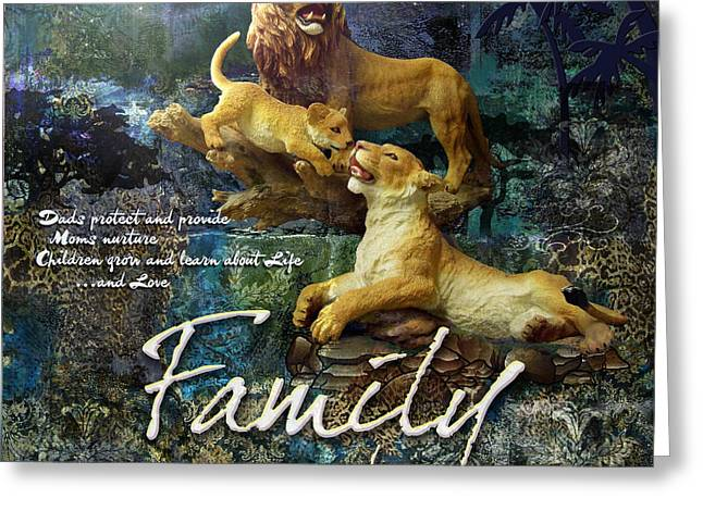 Lions Greeting Cards - Family Greeting Card by Evie Cook