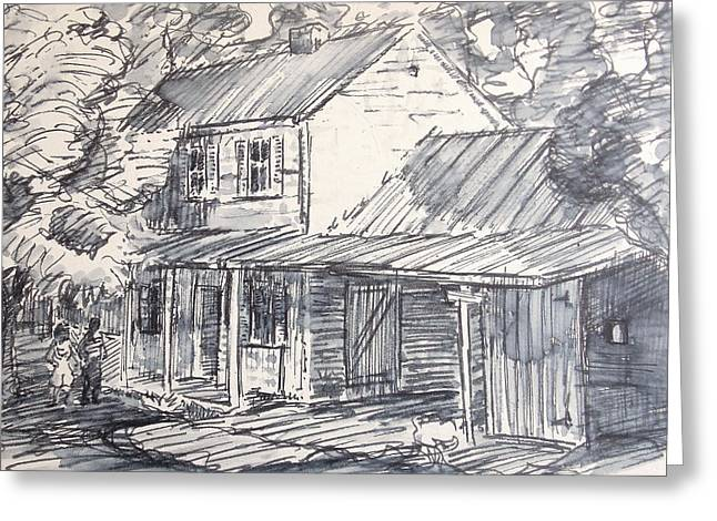 Tin Roof Drawings Greeting Cards - Family Farm House Greeting Card by Bill Joseph  Markowski