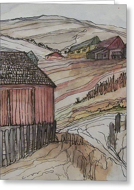 Outbuildings Greeting Cards - Family Farm Greeting Card by Whitman Trecartin