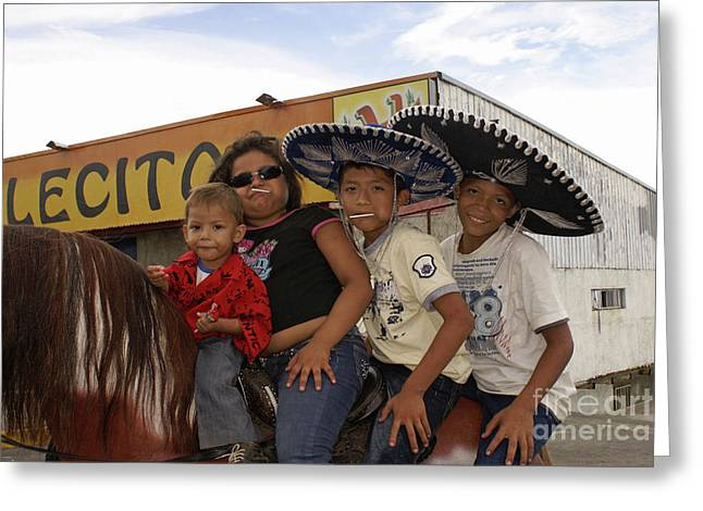 Charro Hat Greeting Cards - FAMILY HORSING AROUND Managua Nicaragua Greeting Card by John  Mitchell