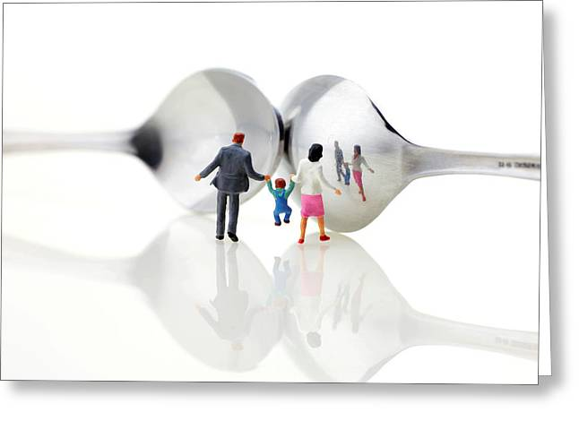 Miniature Effect Greeting Cards - Family in front of spoon distoring mirrors II Greeting Card by Paul Ge