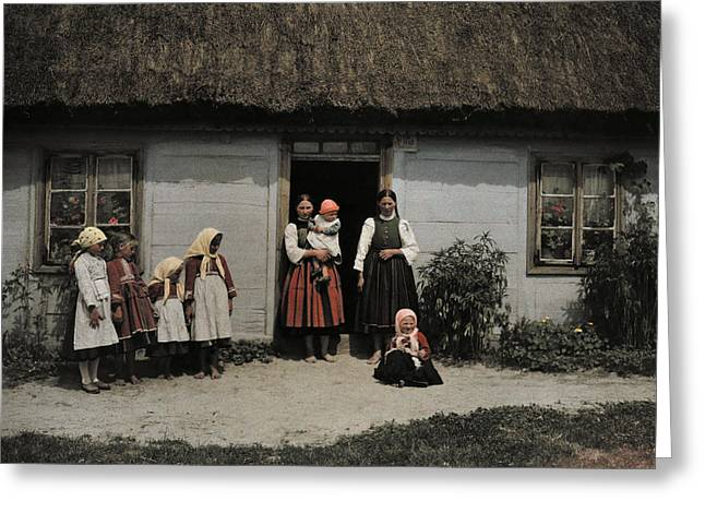 Rural Setting Greeting Cards - Family In Rural Poland Stands Greeting Card by Hans Hildenbrand