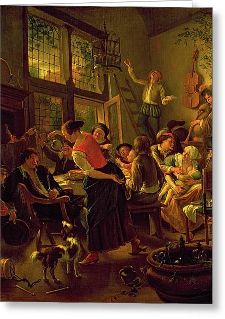 Conversations Greeting Cards - Family Meal Greeting Card by Jan Havicksz Steen