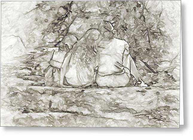 Quite Greeting Cards - Family Mother and Daughters Greeting Card by Randy Steele