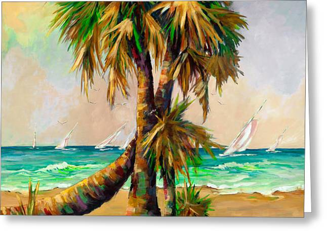 Family of Palm Trees with Sail Boats Greeting Card by Mary DuCharme